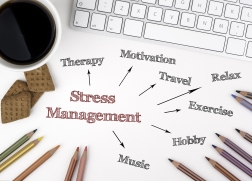 "desk with pencils, keyboard, and coffee. words include ""stress management"", ""Therapy"", ""Motivation"", ""Travel"", ""Exercise"", ""Hobby"", ""Music"", ""Relax"""